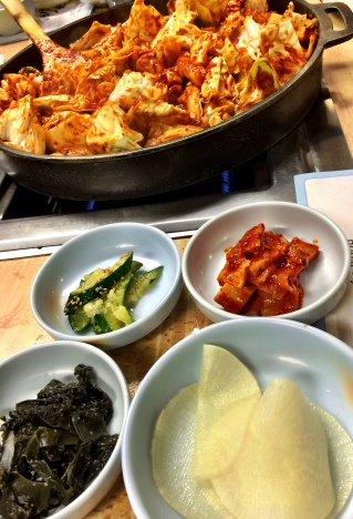 Dak Galbi with Banchan (side dishes)